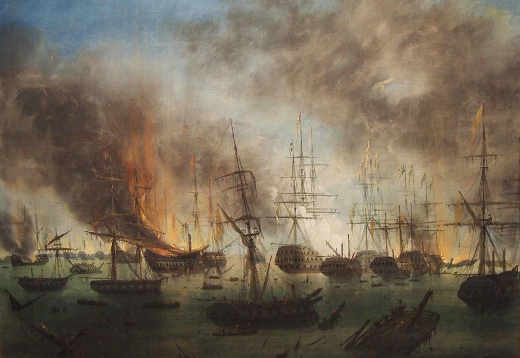 Ναυρίνεια - Ναυμαχία του Ναυαρίνου - Έργο του Auguste Etienne Francois Mayer