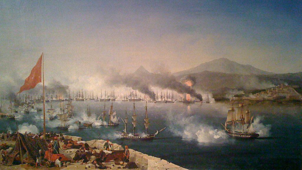 Ναυραρίνεια - Ναυμαχία του Ναυαρίνου - Έργο Ambroise Louis Garneray